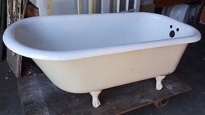 Antique 5' Cast Iron White Porcelain Claw foot Bathtub Old Vtg Bathroom 1575-16