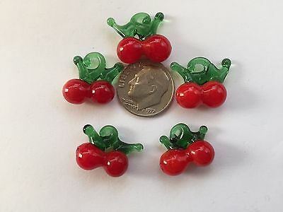 20 pcs Red Cherry Fruit Lampwork Glass 14X20mm Drop Beads Could Be Holly Berries