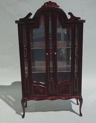 Dollhouse Miniature ~ Mahogany Display Cabinet ~ Vintage Bespaq