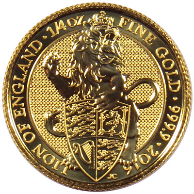 2016 U.K. 25 Pound 1/4 oz Gold Queen's Beast BU The Lion