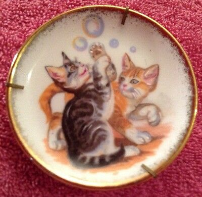 2 Cats Kittens Playing W/ Bubbles Limoges Mini Plate Tabby Tiger Cats Gold Trim