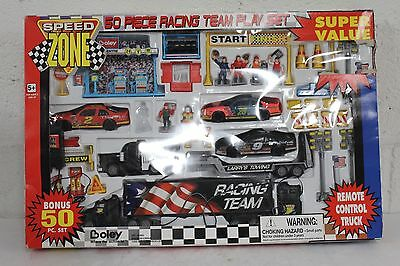 Speed Zone 50 Pc Racing team Play Set w/ Remote Controled Truck