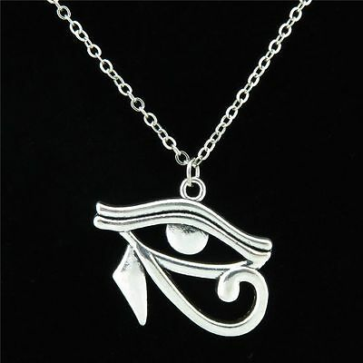 17-4 Eye of Horus Eye of Ra Wedjat Protective Amulet Pendant Chain Collar Choker