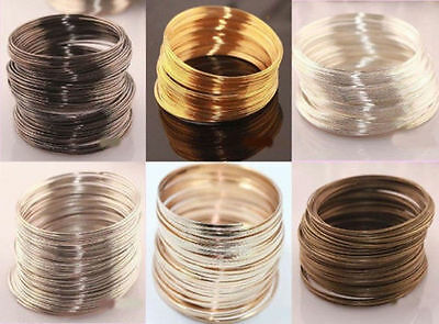 100 Loops Silver/Gold Plated Memory Steel Wire Cuff Bangle Bracelet 55/60mm