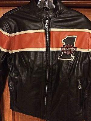 Women's Harley-Davidson Racing Style  Number #1 Leather Jacket Sz XS Rare mint