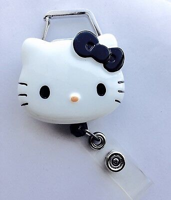 "Hello Kitty 45mm / 1.9"" Carabiner Retractable Reel ID Badge Holder_Black Bow 1pc"