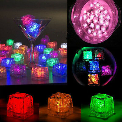 12x Glowing Ice Cube Cubes Glow in Water Light UP Party Wedding Toy Swimming New