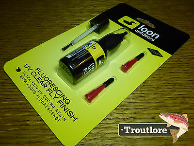 Loon Outdoors Fluorescing Uv Clear Fly Finish 1/2 Oz Dressing New Fly Tying Glue