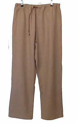 Sand Beige Renaissance Medieval Wool-look Elasticated Trousers Sz M 34-36W LARP