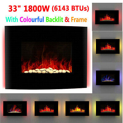 Wall Mounted LED Electric Fireplace Curved Glass Fire Fan Heater Remote Backlit