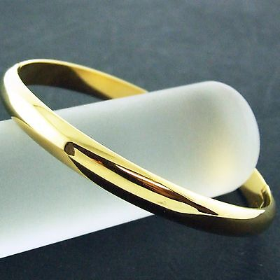 An511 Genuine Real 18K Yellow G/f Gold Solid Ladies Hinged Cuff Bangle Bracelet