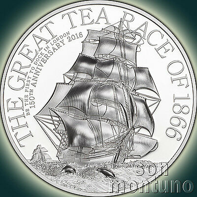 GREAT TEA RACE 1 OZ - 2016 Cook Islands High Relief 5 Dollars Silver Proof Coin