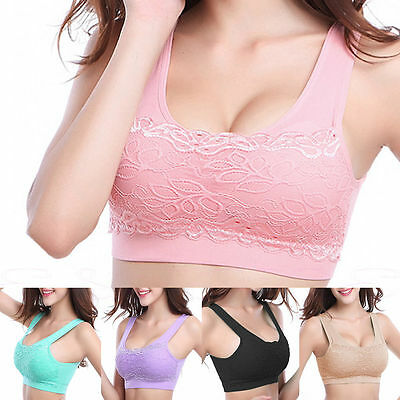 Womens Sports Fitness Stretch Workout non wired Seamless Padded Lace Sports Bra