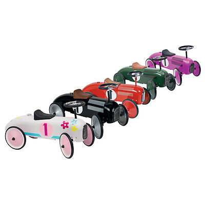 Charles Bentley Retro Vintage Metal Racing Ride On Car Age 1-3 Years - 5 Colours