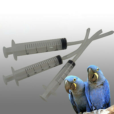 3pcs Baby Bird Budgie Parrot Hand Rearing Feeding Syringes Crop Tubes 5/10/20ml