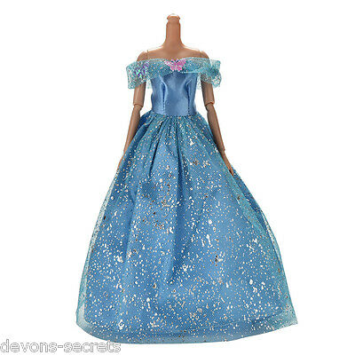 girls toy doll BARBIE blue FROZEN style dress princess set outfit dresses BC68