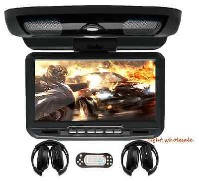Free Headphones 9''LCD Overhead Flip Down Car DVD Player Game Monitor Roof Mount