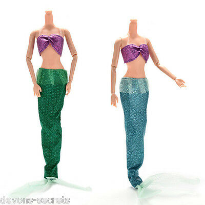 Barbie clothes mermaid swimming outfit costume dolls dress 2 colours new BC69