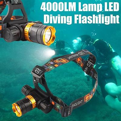 Cool New 4000LM Lamp LED Underwater Waterproof Diving Headlamp Flashlight Torch