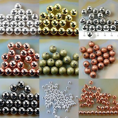 Bronze Gold & SILVER PLATED Metal Round SPACER BEADS 2.5mm 3mm 4mm 5mm 6mm 8mm