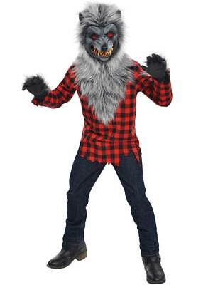 Childs Teen Hungry Howler Werewolf Halloween Wolf Fancy Dress Costume Ages 8-16