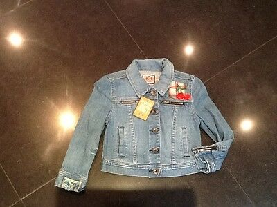 NWT Juicy Couture New & Genuine Girls Denim Bomber Jacket With Juicy Logo Age 8