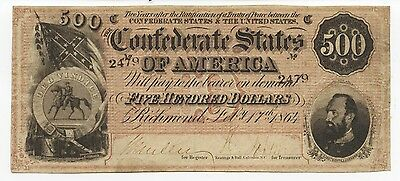 $500 1864 Confederate States Of America - Cs64 - Vf/xf