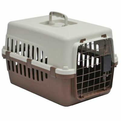 Pet Carrier Cage Dog Cat Kitten Puppy Travel Vet Transport Box White Brown Large