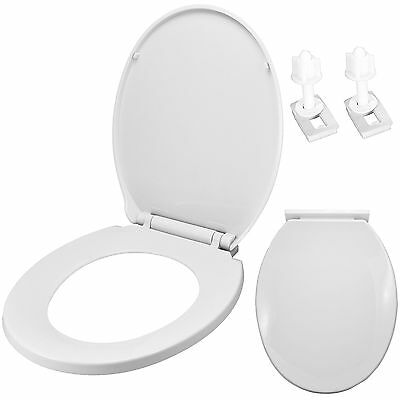 Luxury Oval Toilet Seat Heavy Duty Soft Close White - With Bottom Fixing Hinges