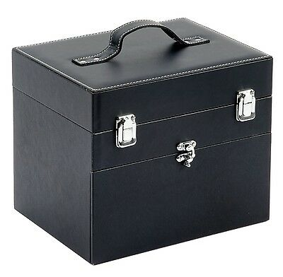 Make Up Cosmetic Beauty Travel Nail Tech Vanity Case Box Black Faux Leather
