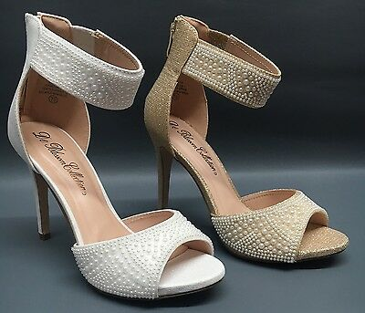 NEW Blossom Isabella-1 Womens Wedding Prom Pageant Ankle Pearl High Heel Shoes