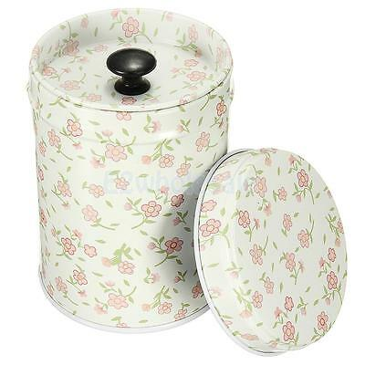 Cylinder Tin Canister Box Double Cover Food Storage Container Kitchen Floret