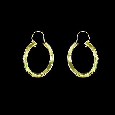 "Bold 1"" diameter yellow gold hoop earrings with faceted edges M-F"