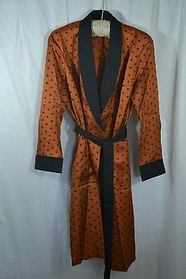 VINTAGE TOOTAL orange and black polka dot mens robe dressing gown SMALL 1950s