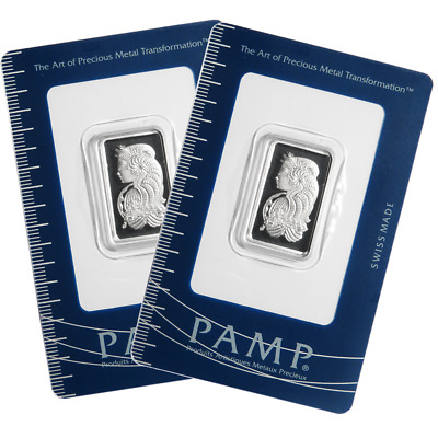 Lot of 2 - 10 Gram Pamp Suisse .9995 Fine Platinum Bar Fortuna