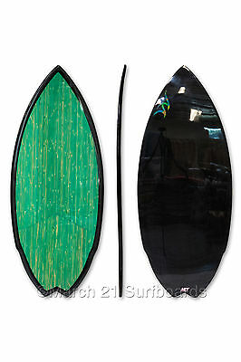"51.5"" Epoxy EPS Skimboard Medium Swallow Tail Green Bamboo Carbon Skim Surf"
