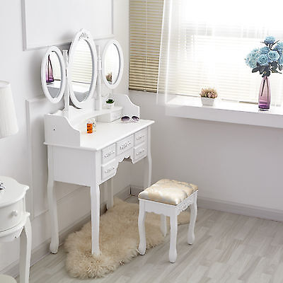 White Dressing Table Makeup Desk with Stool, 7 Drawers and Oval Mirror Bedroom