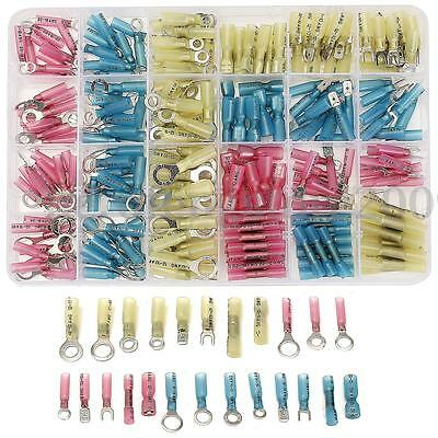 250Pcs Heat Shrink Rings Butts Wire Connectors Cable Wire Crimp Terminals Kit AU