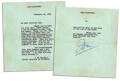 Joan Crawford Typed Letter Signed re Zane Grey Theater