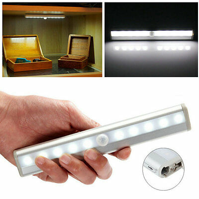 10 LED Bright PIR Motion Sensor Light Cabinet Wardrobe Drawer Lamp Bulb