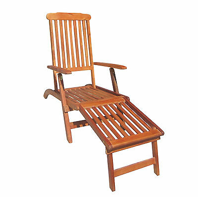 Charles Bentley Hardwood Folding Steamer Chair Sun Lounger For Garden Patio