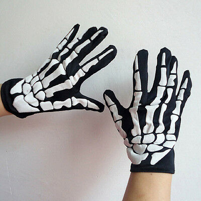 1 Pair Halloween Skeleton Ghost Claw Gloves White Bone Of Finger CUB