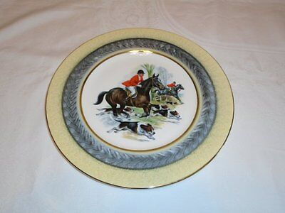 Lovely Vtg Royal Imperial Bone China England Fox Hunting Horse Hounds Plate Exc