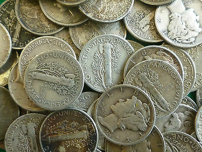 Mercury Dimes Bulk Lot Of 40 Selected Circulated Silver USA 10 Cent Coins