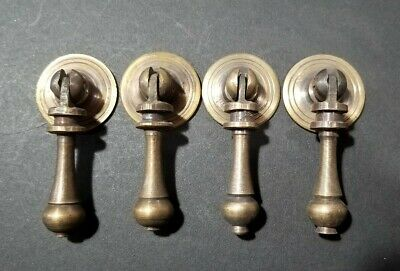 "4 Nice Ornate tear drop pendant brass handle pulls w.strong bolts 2 3/4"" #H3"