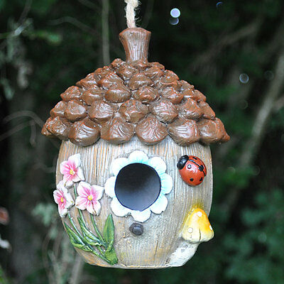 Floral Acorn Bird House Garden Ornament Nesting Box Feeder Ladybug NEW 39253