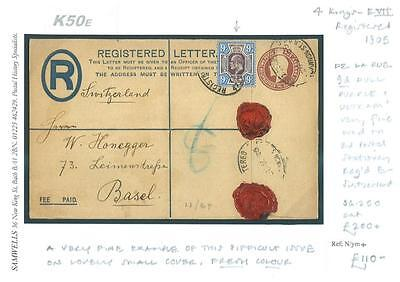 DBK50e 1905 GB London EVII Uprated Registered Envelop DLR 9d/SWITZERLAND Basle