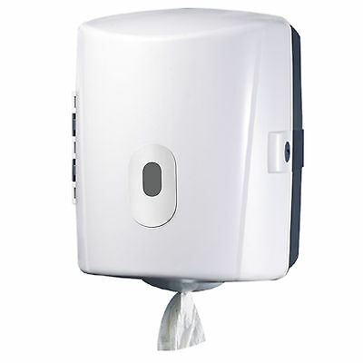 Paper Towel Dispenser Centre Feed Wall Mount Lockable Blue Roll Commercial White
