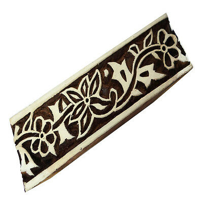 Textile Wooden Block Decorative Hand Carved Floral Pattern Fabric Border Stamp