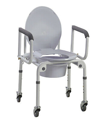 Commode with drop arms, with wheels, aluminum, 1 each  1 EA